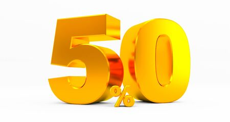golden fifty percent on a white background. Sale of special offers. Discount with the price is 50%. 3D rendering Standard-Bild
