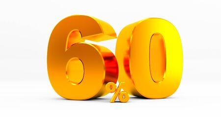 golden sixty percent on a white background. Sale of special offers. Discount with the price is 60%. 3D rendering Standard-Bild