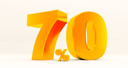 golden seventy percent on a white background. Sale of special offers. Discount with the price is 70%. 3D rendering Standard-Bild