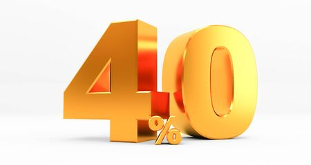 golden forty percent on a white background. Sale of special offers. Discount with the price is 40%. 3D rendering Standard-Bild