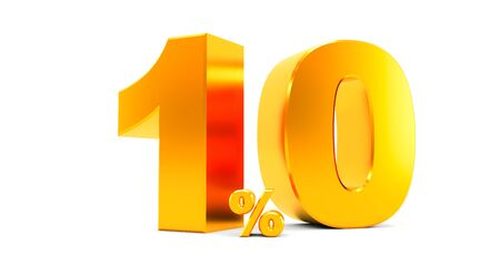 3D rendering of a golden ten percent on a white background. Sale of special offers. Discount with the price is 10%.