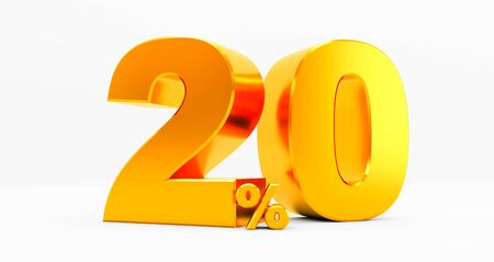 3D rendering of a golden twenty percent on a white background. Sale of special offers. Discount with the price is 20%.