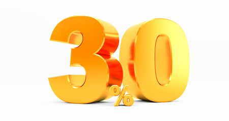 3D rendering of a golden thirty percent on a white background. Sale of special offers. Discount with the price is 30%. Standard-Bild