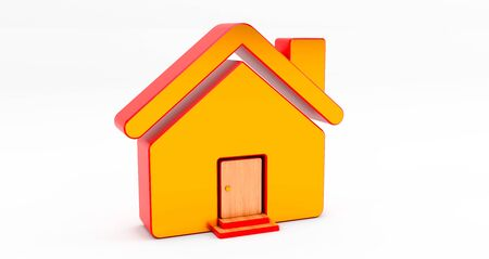 3d rendering of gold and red house on white background. Idea for real estate concept