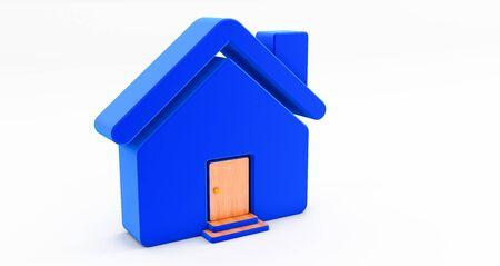 3d rendering of blue house on white background. Idea for real estate concept Standard-Bild