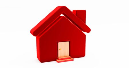 3d rendering of and red house on white background. Idea for real estate concept