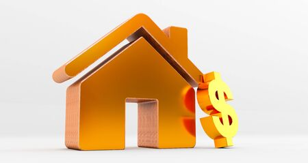 3d rendering of golden house on white background with dollar sign. Idea for real estate concept Standard-Bild