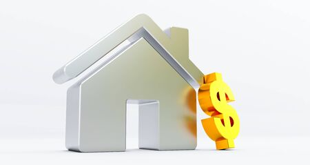 3d rendering of metallic house on white background with dollar sign. Idea for real estate concept