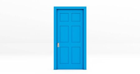 blue Closed door isolated on white background.. 3d rendering