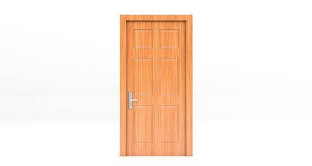 wooden Closed door isolated on white background.. 3d rendering Standard-Bild