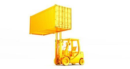 golden forklift truck with container on pallet shot on white background Standard-Bild