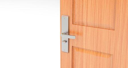 opened wooden door. room with open door Standard-Bild