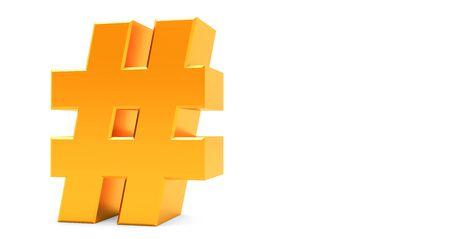 3D rendering of Golden Hashtag Icon on white background. Standard-Bild