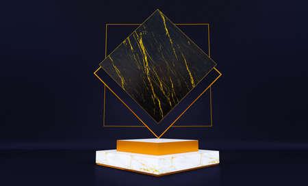 3d rendering of white marble pedestal isolated on black background, luxury minimalist mockup Standard-Bild
