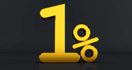 Golden tow percent on a black background. 3D render