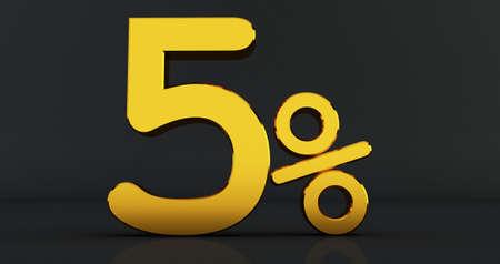 Golden sixx percent on a black background. 3D render