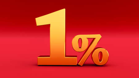 Golden one percent on a red background. 3D render