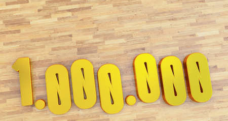 golden 1 million numbers on wooden background.