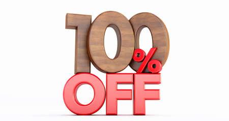10% off. wooden ten percent. wooden ten percent on white background. 3D render.