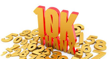 Thank you 10K followers, thanks followers congratulation card. 3D render