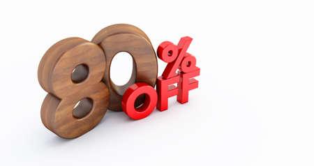 80% off. wooden eighty percent. wooden eighty percent on white background. 3D render. 版權商用圖片