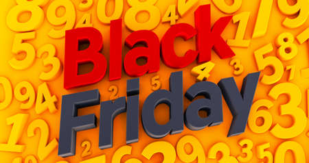 Black Friday Concept on yellow nembers background .3 D render