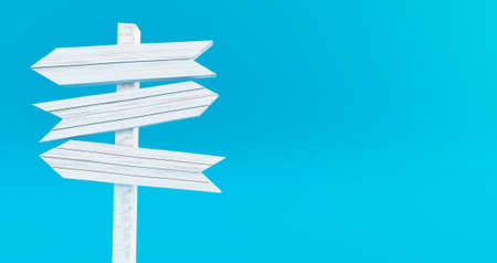 3D rendering of Empty wooden signpost on bleu background