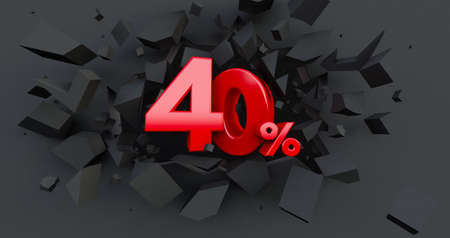 Abstract Explosion Background. 50 fifty percent sale. Black friday idea. up to 50%. 3D render