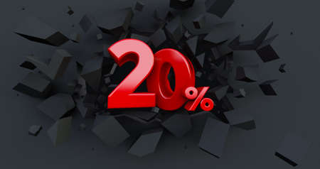 Abstract Explosion Background. 20 twenty percent sale. Black friday idea. up to 20%. Broken black wall with 20% in the center. 3D render