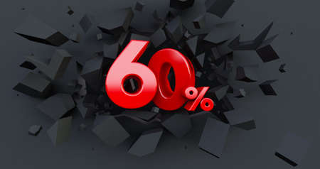 Abstract Explosion Background. 60 ten percent sale. Black friday idea. up to 60%. Broken black wall with 60% in the center. 3D render