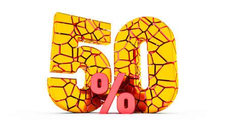3d render of broken 50 percent discount sign,. 50% off. On sale. Great deal. 版權商用圖片