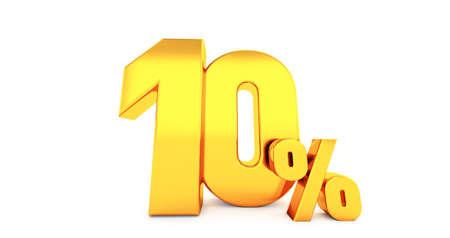 3d render of ten 10 percent on white background. 10% percent 版權商用圖片