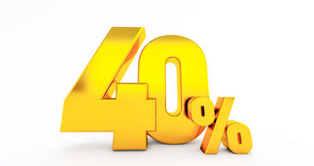 3d render of forty 40 percent on white background. 40% percent