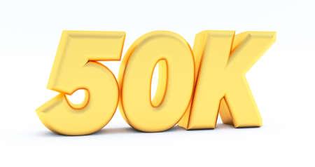 golden 50K, 50000 on a Black numbers background. 3D render. 50k