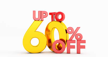 Up to 60% sixty Off word isolated on white background. Special Offer 60% Discount Tag, 3D render 版權商用圖片