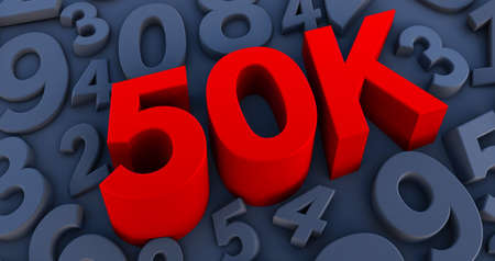 red 50K, 50000 on a Black numbers background. 3D render. 50k