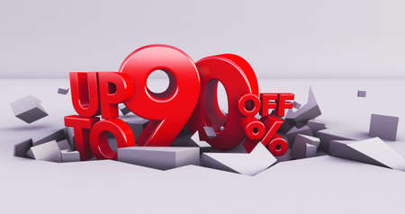 red 90% Number isolated on white background .90 ninety percent sale. Black friday idea. up to 90%. 3D render