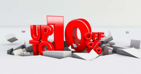 red 10% Number isolated on white background .10 ten percent sale. Black friday idea. up to 10%. 3D render