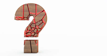 3d render of wood cracked question mark on a white background, Question in white ground 版權商用圖片