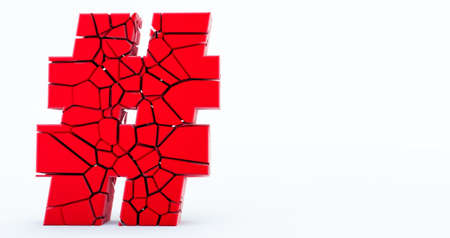 3D rendering of red cracked Hashtag Icon on white background.