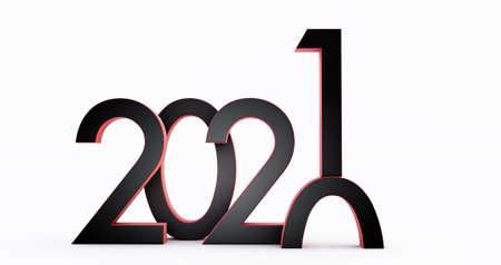 3D render of 2021 on white
