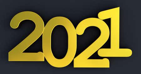 3D render of 2021 on black
