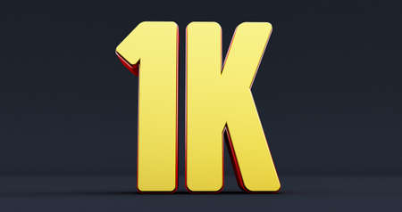 One thousand. 1K red sign  on black background.. Thank you 1k Followers design.3d render