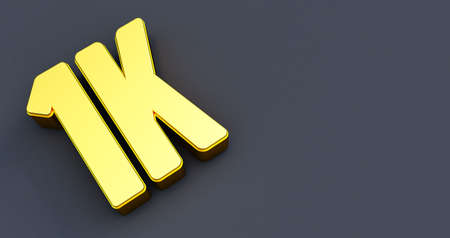 One thousand 1000. 1K gold sign  on black background.. Thank you 1k Followers design.3d render