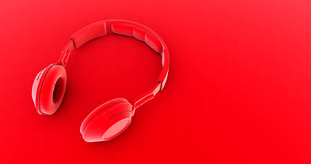 red headphone  on red background. music. 3d render