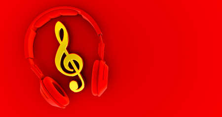 red Headphones and golden notes on red background - concept of a music . 3D render