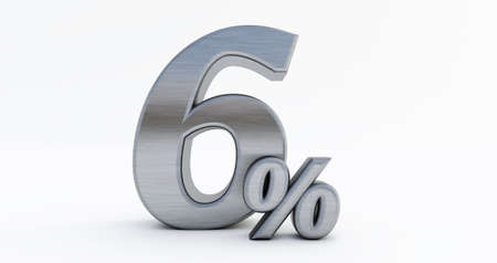 3D render of 6 percent off, metal six percent isolated on a white background.