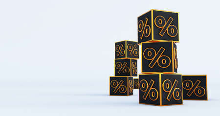 3D discount boxes dice for store market and shop isolated on white background. 3d render Stockfoto