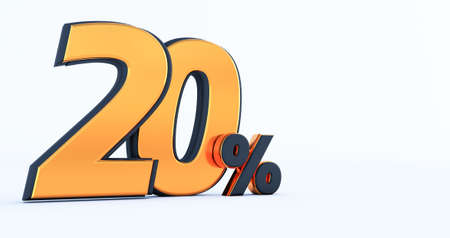 3d render of a Gold and black twenty 20 percent. 20% off discount sale promotion