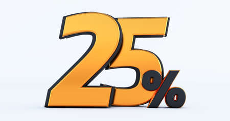 twenty five 25% off on sale. Gold percent isolated on white background. 3d render of a Gold twenty five percent
